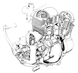 Cutaway drawing of Norton l/w engine