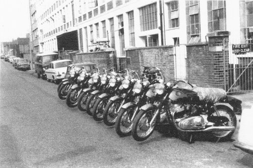 Row of Commando bikes in Burrage Grove pic