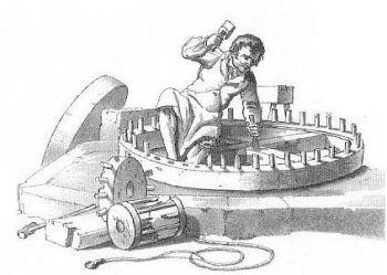 Old-style millwright at work drawing