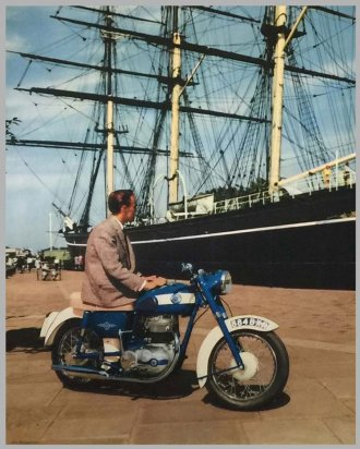 AJS bike and Cutty Sark pic